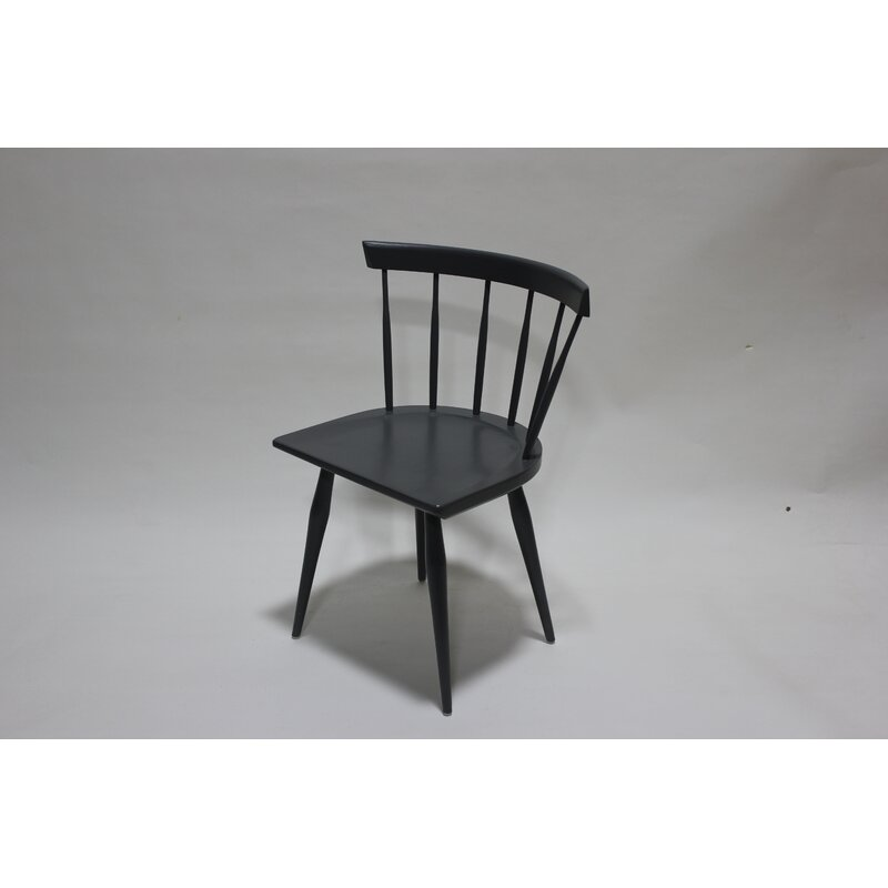 Gracie Oaks Nerina Solid Wood Slat Back Side Chair in Black