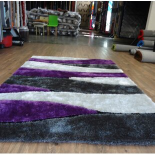 Top Reviews Clarkston Abstract Design Hand-Tufted Purple/White Area Rug By Orren Ellis