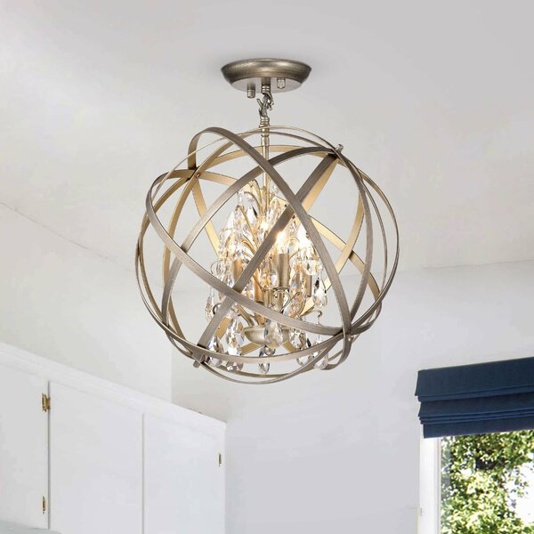 House Of Hampton Gil 4 Light Candle Style Globe Chandelier With Crystal Accents Reviews Wayfair
