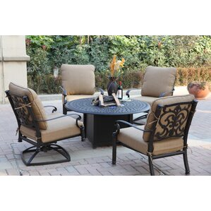 Santa Barbara 5 Piece Fire Pit Seating Group With Cushions