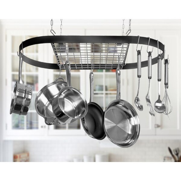 kinetic classicor wrought iron hanging oval pot rack reviews wayfair. Black Bedroom Furniture Sets. Home Design Ideas