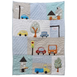 Baby Boy Quilt Construction Tools  in Turquoise Blue   FREE SHIPPING