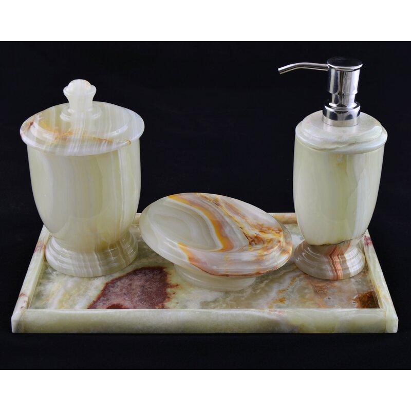 HOME BATHROOM DECOR FLEUR-DE-LIS 4-PIECE BATH ACCESSORY SET PORCELAIN