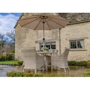 Ridgemoor 4 Seater Dining Set With Cushions And Parasol Image