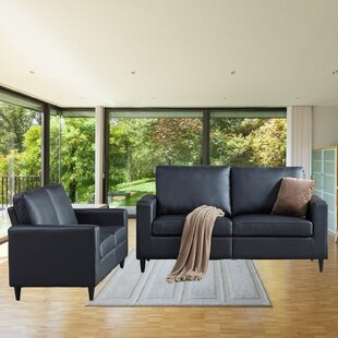 PU Leather 2+3 Seat Sofa And Rectangular Shaped Arms Round by George Oliver