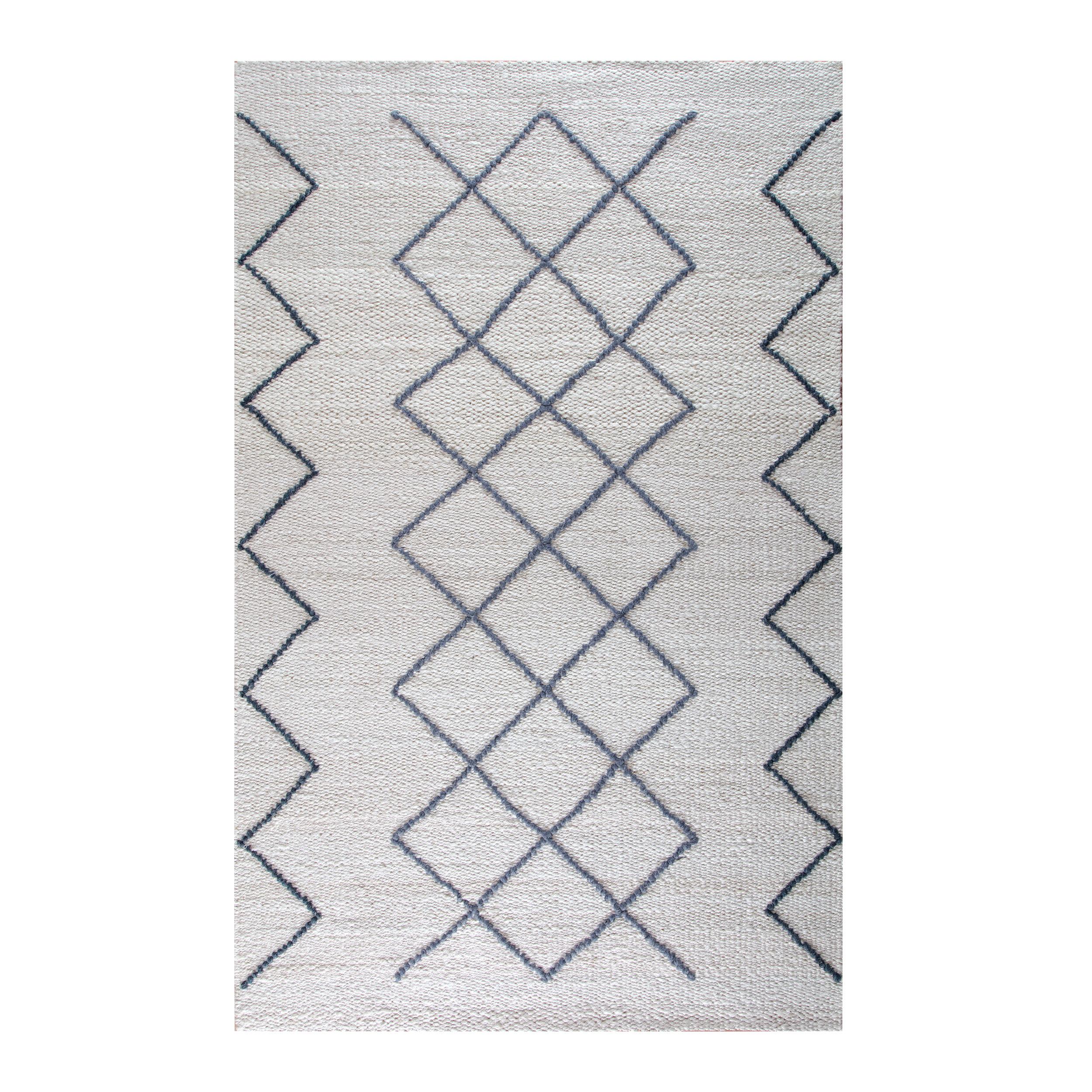 Antoinette Geometric Handmade Flatweave Jute Wool Gray Blue Ivory Area Rug Allmodern