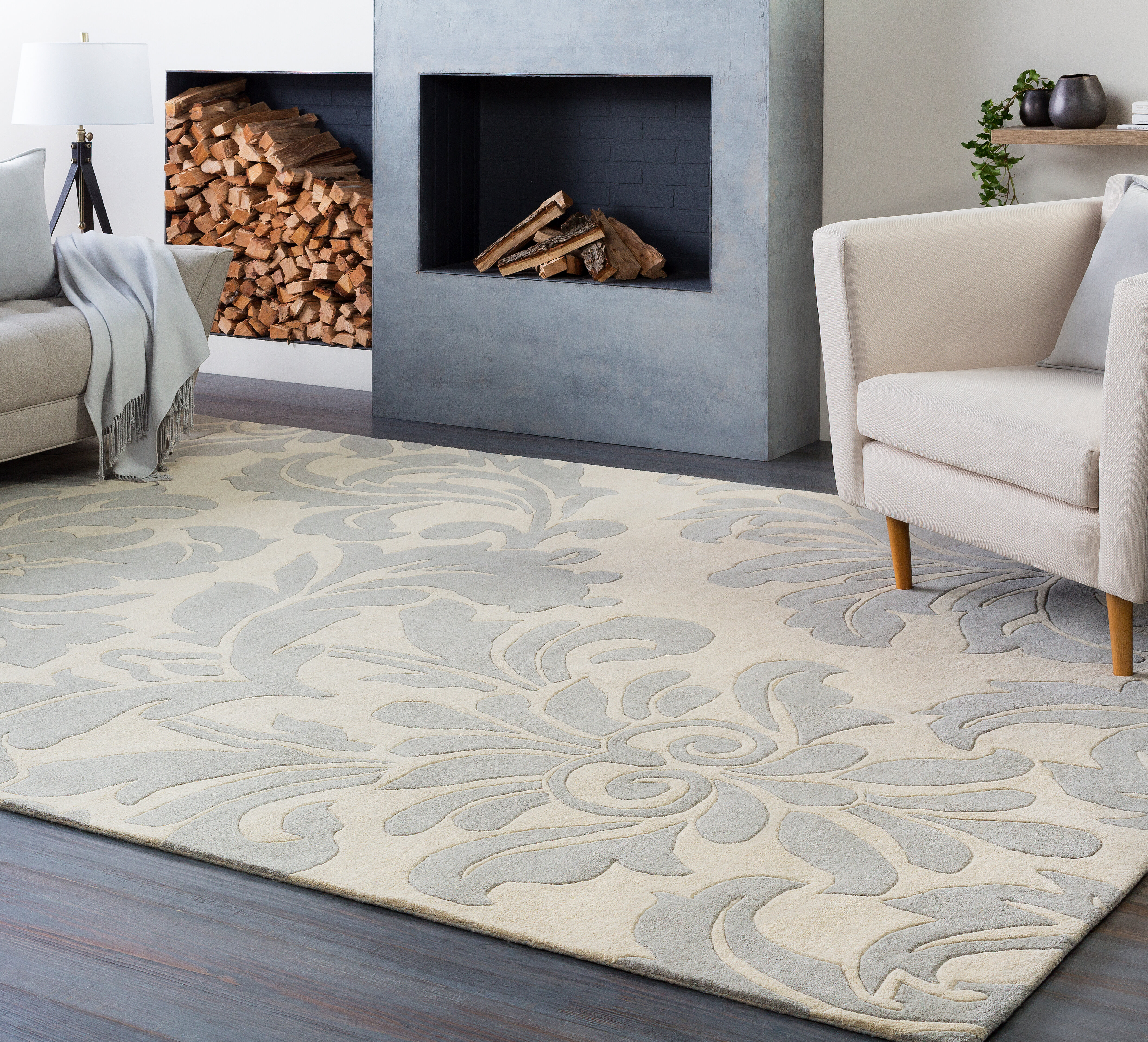 Knighton Floral Handmade Tufted Wool Cream Gray Area Rug Reviews Birch Lane