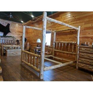Gravesend Cedar Log Storage Canopy Bed