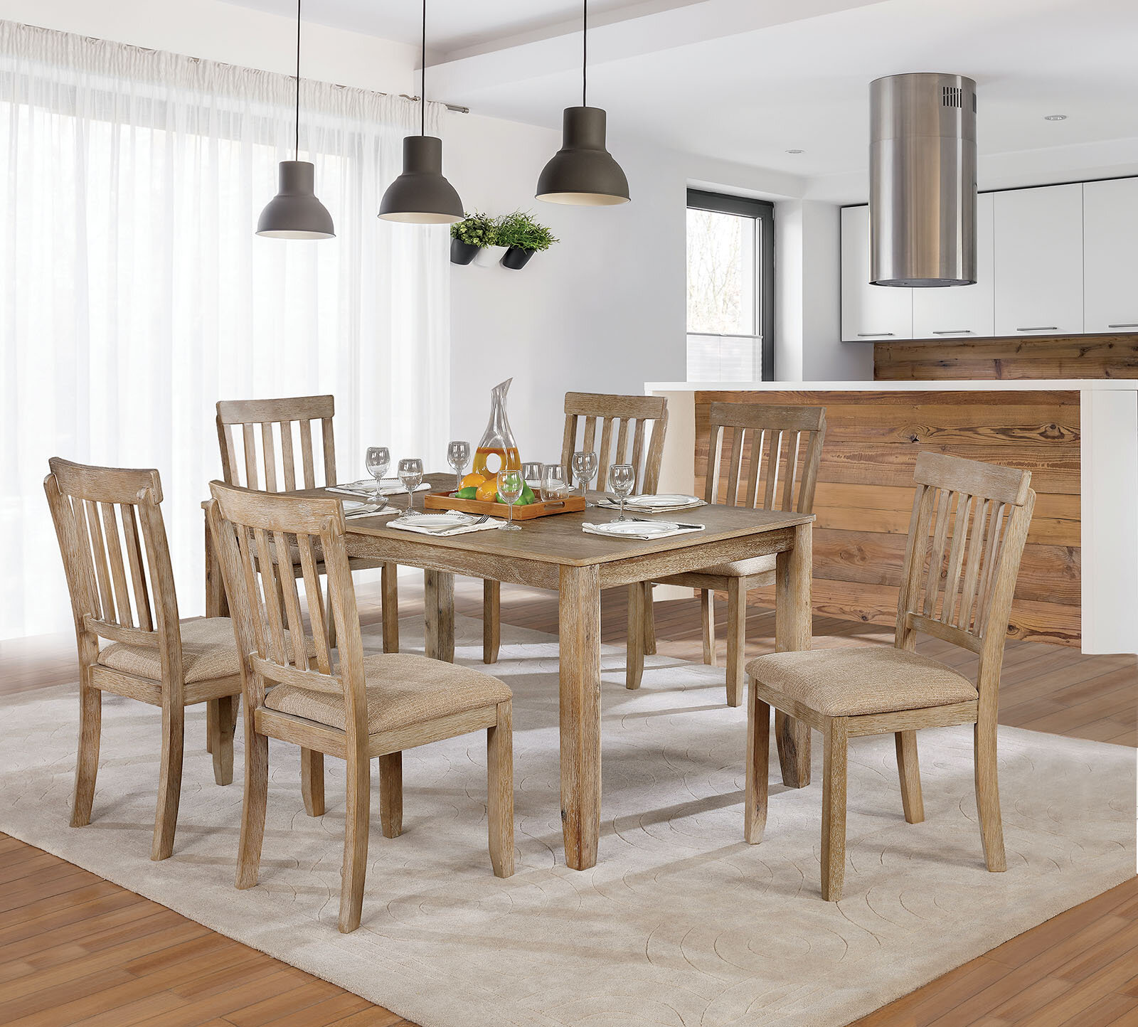 Loon Peak® Orsi 7 Piece Dining Table Set | Wayfair