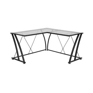 Newfane Glass L-Shape Writing Desk