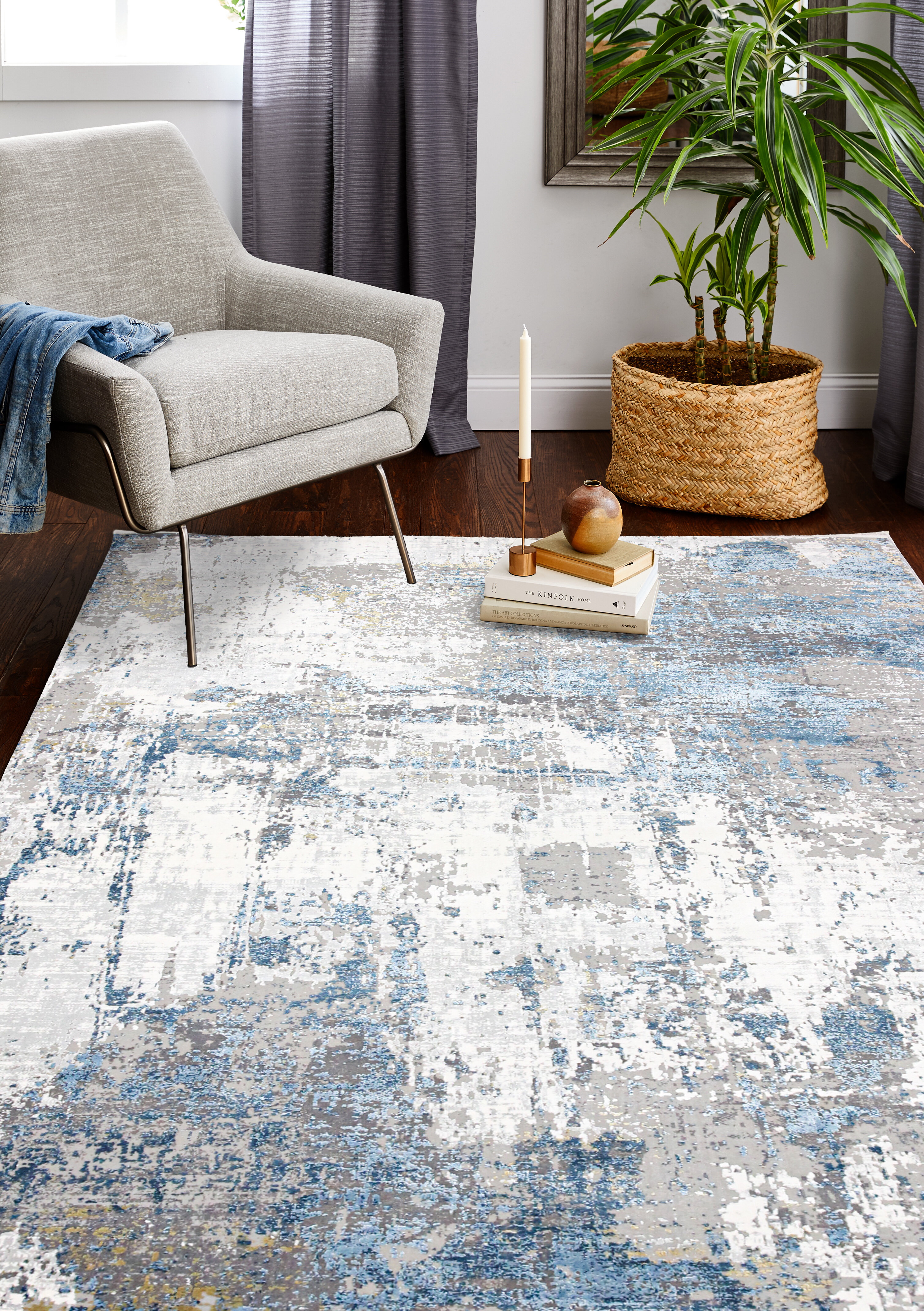 17 Stories Howton Power Loom Ivory Blue Rug Wayfair