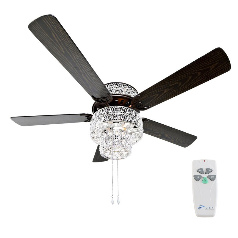 "River of Goods 52"" Punched Metal Crystal 5 Blade Ceiling Fan with"