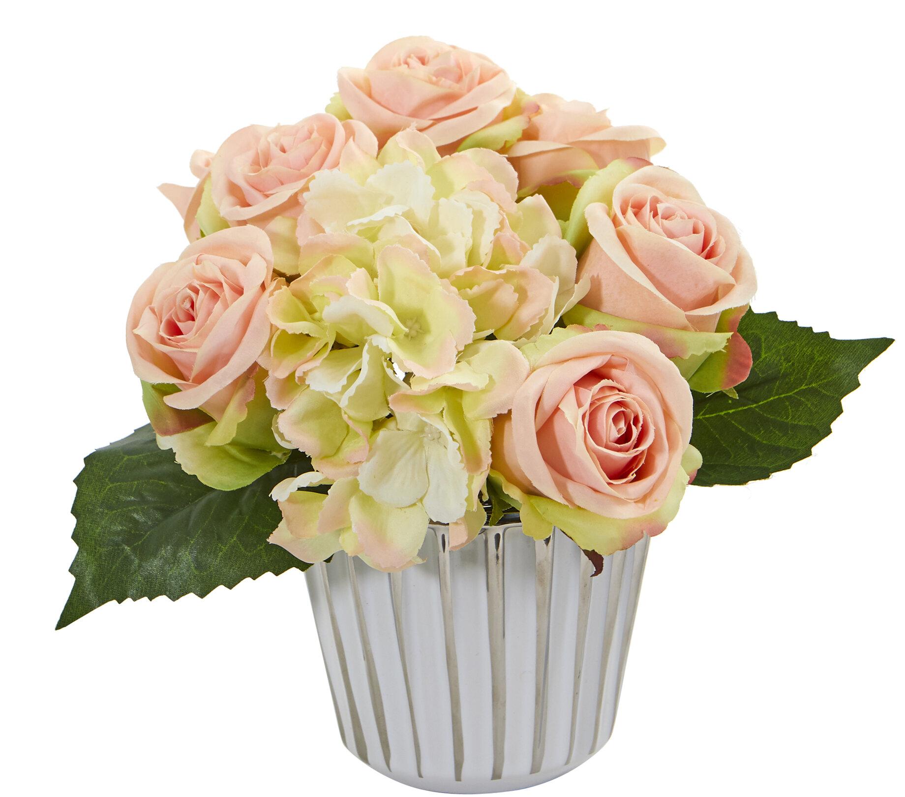 Rose And Hydrangea Bouquet Mixed Floral Arrangement In Vase Joss