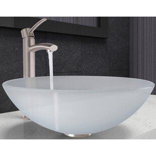VIGO Glass Circular Vessel Bathroom Sink with Faucet