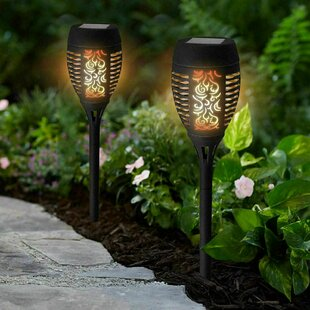 2X Solar Powered Flame Effect Torch Lights (Set Of 2) Image