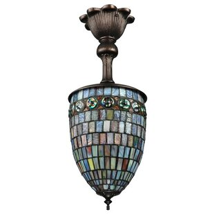 Meyda Tiffany Turtleback 1-Light Urn Pend..