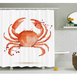 Look for Bulger Crabs Sea Animals Theme Watercolor Style Effect a Big Crab on White Background Print Shower Curtain By Highland Dunes