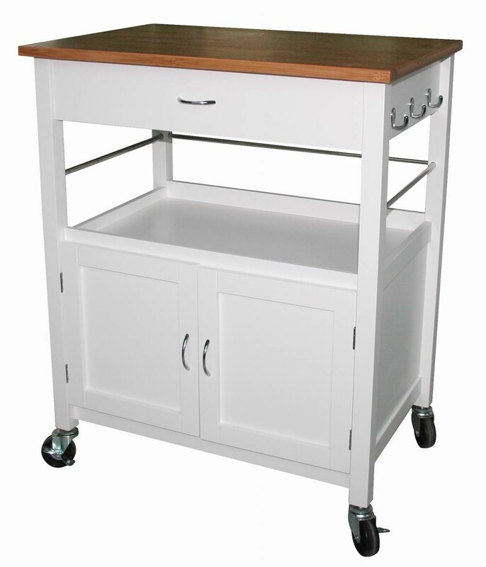 Andover Mills Guss Kitchen Island Cart with Natural Butcher Block ...
