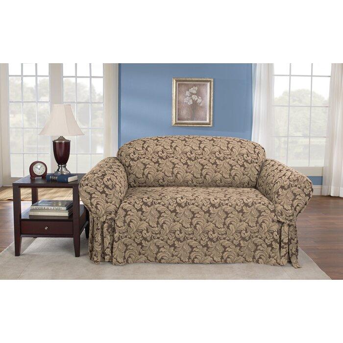 Marvelous Scroll Classic Box Cushion Loveseat Slipcover Short Links Chair Design For Home Short Linksinfo
