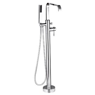 Single Freestanding Tub Filler with Shower Wand