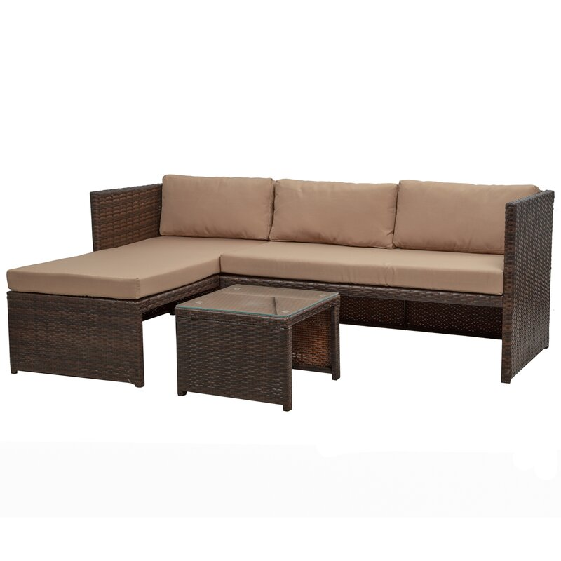 Mccollister 3 Piece Patio Conversation Set All-weather Wicker Rattan Corner Sofa Sectional Seating Group with Cushions