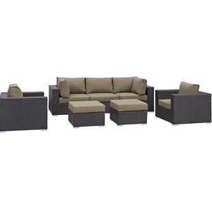 Latitude Run Ryele 7 Piece Rattan Sectional Set with Cushions