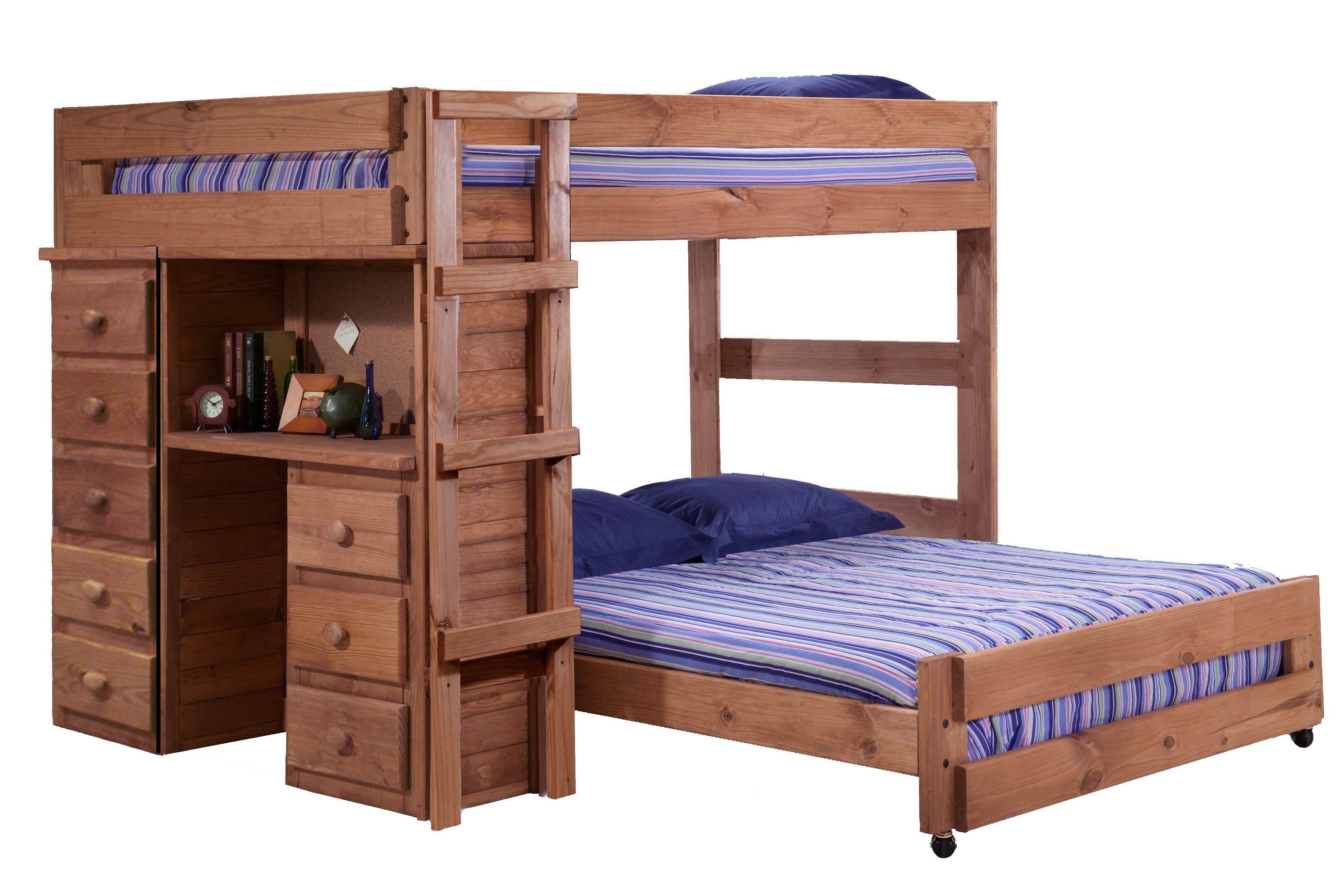 Harriet Bee Choe Full Over Full L Shaped Bunk Bed With Desk And Drawer Reviews Wayfair