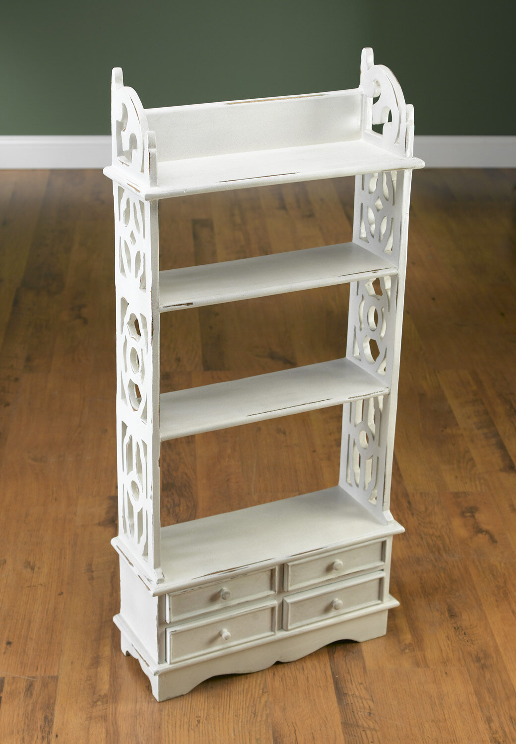 Kay Antique White Bookcase