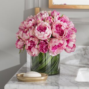 Faux Magenta Pink Peony Floral Arrangement In Glass Vase