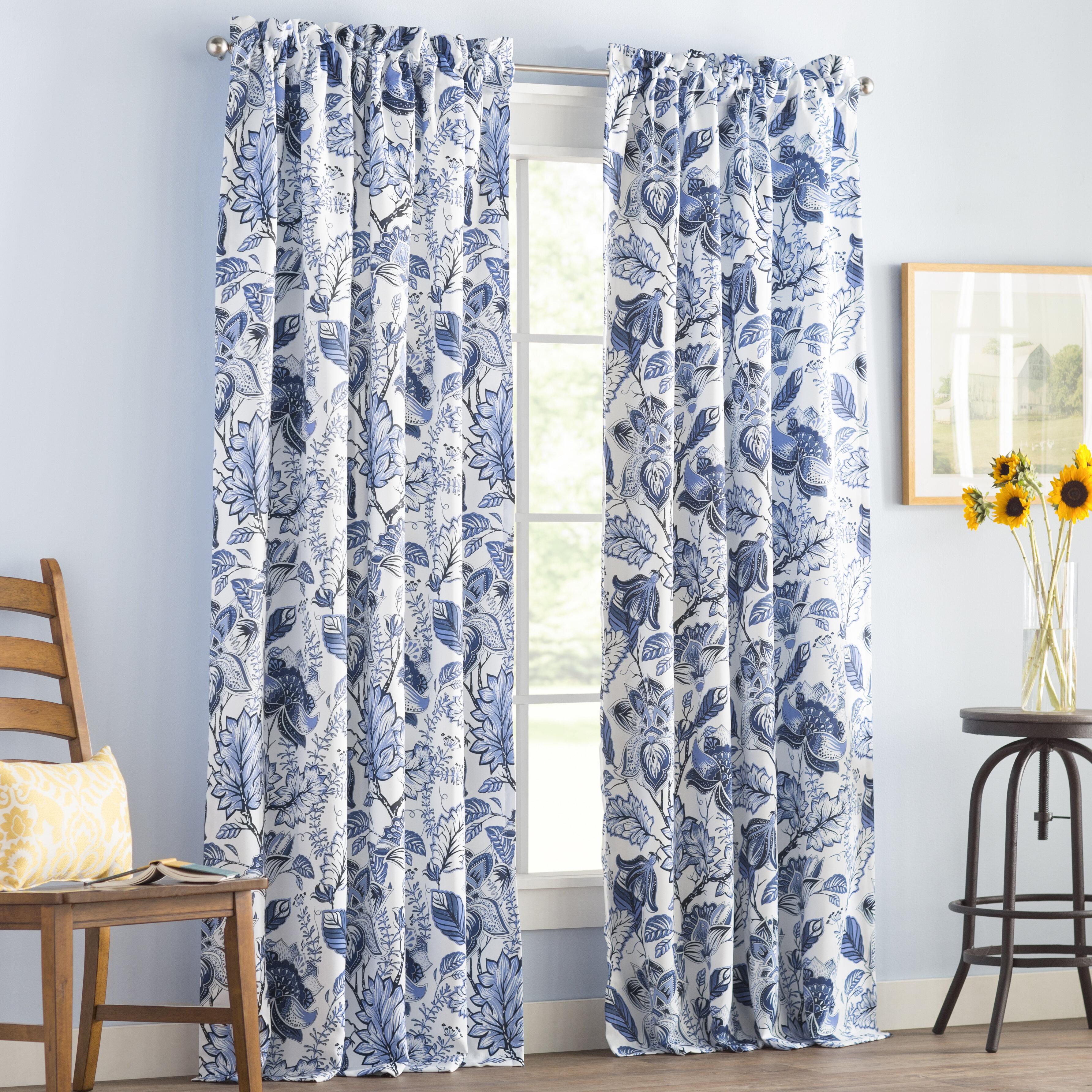 Three Posts Moretinmarsh Floral Thermal Rod Pocket Curtain Panels Reviews Wayfair