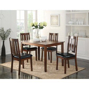 Porcaro 5 Piece Solid Wood Dining Set Winston Porter