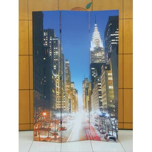 Gallager Town Scenery 3 Panel Room Divider by Ebern Designs