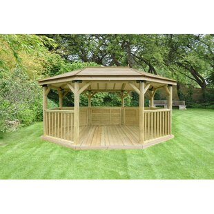 5.3m X 3.8m Wooden Gazebo With Timber Roof By Sol 72 Outdoor