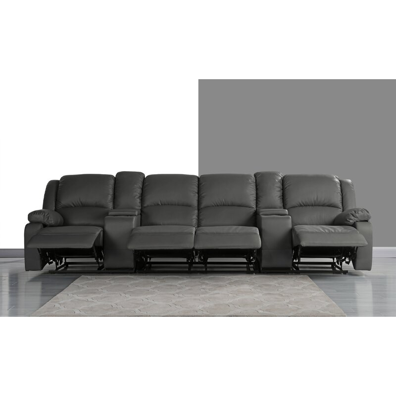 4 Seat Home Theater Sofa With Cup Holder