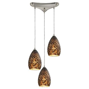 Bloomsbury Market Apollina 3-Light Glass Shade Cluster Pendant