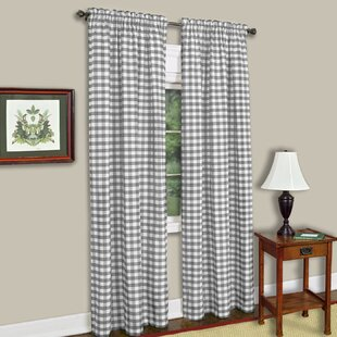Buffalo Check Plaid Semi Sheer Rod Pocket Single Curtain Panel