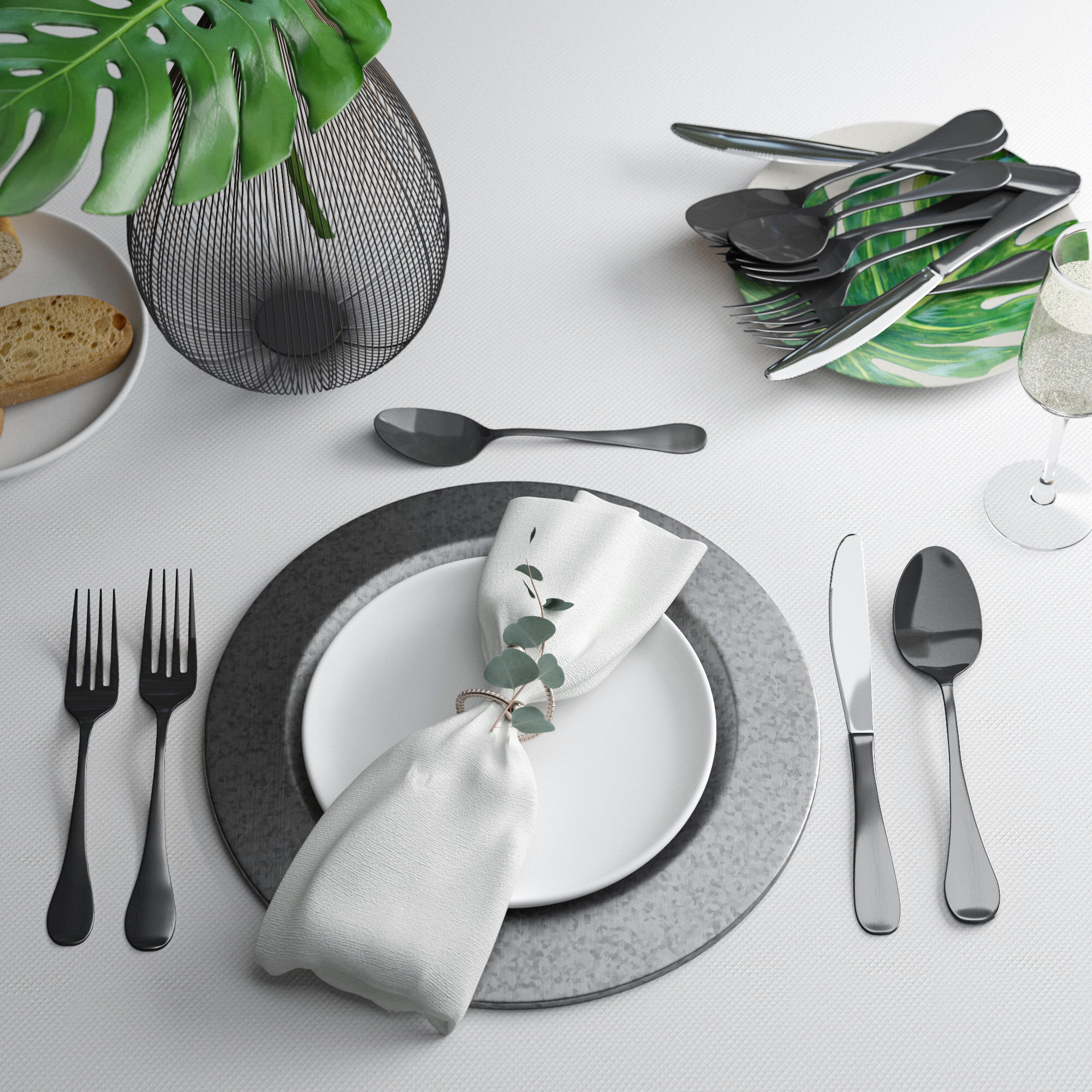 20-Piece Flatware Set Stainless Steel 18//10 with Placemat Service for 4