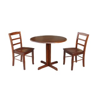 Ingrassia Dual Drop Leaf 3 Piece Solid Wood Dining Set Charlton Home