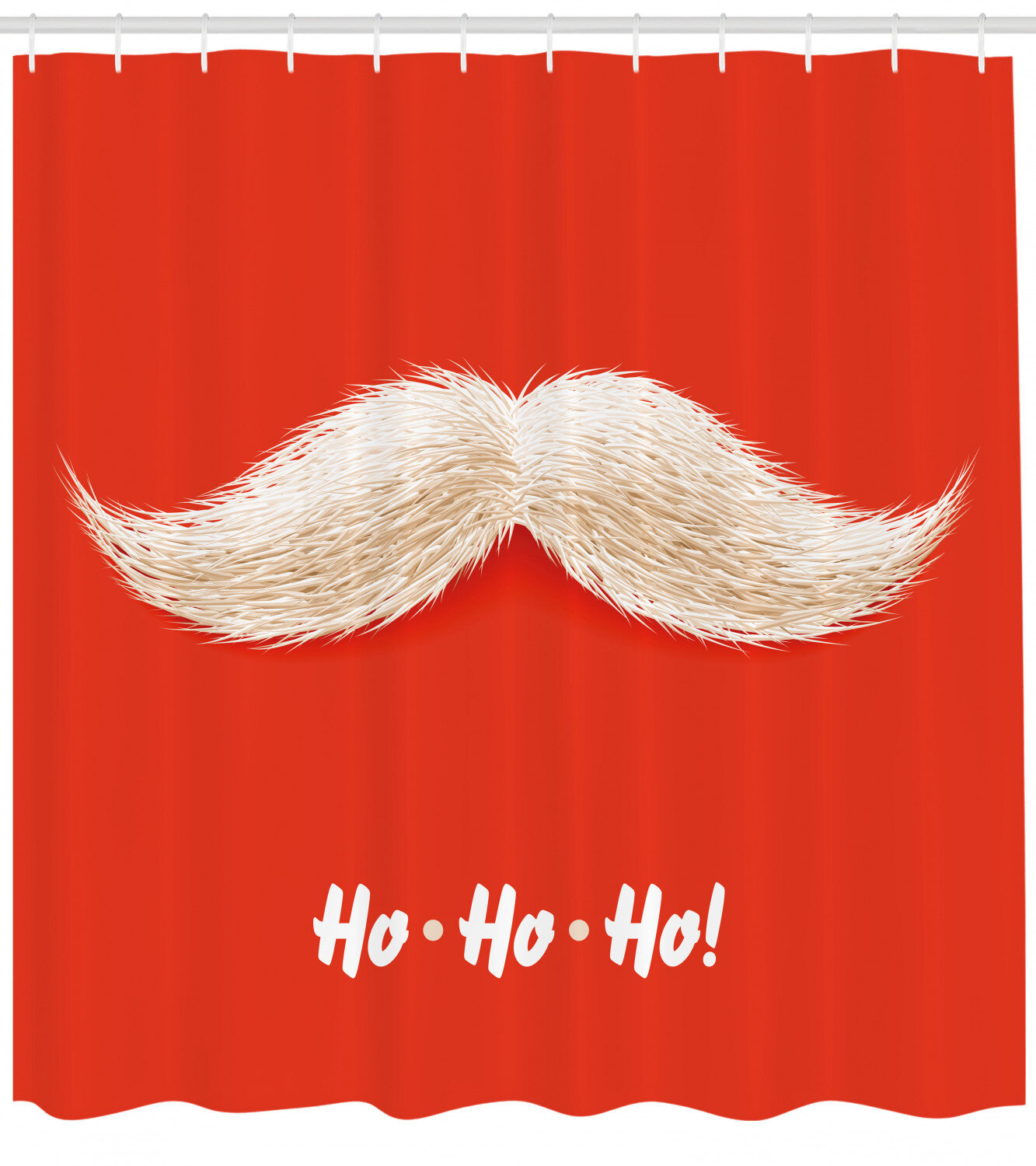 Ambesonne Christmas Shower Curtain Hairy Vivid Moustache Of Santa Claus With Ho Ho Ho Lettering Happy New Year Cloth Fabric Bathroom Decor Set With