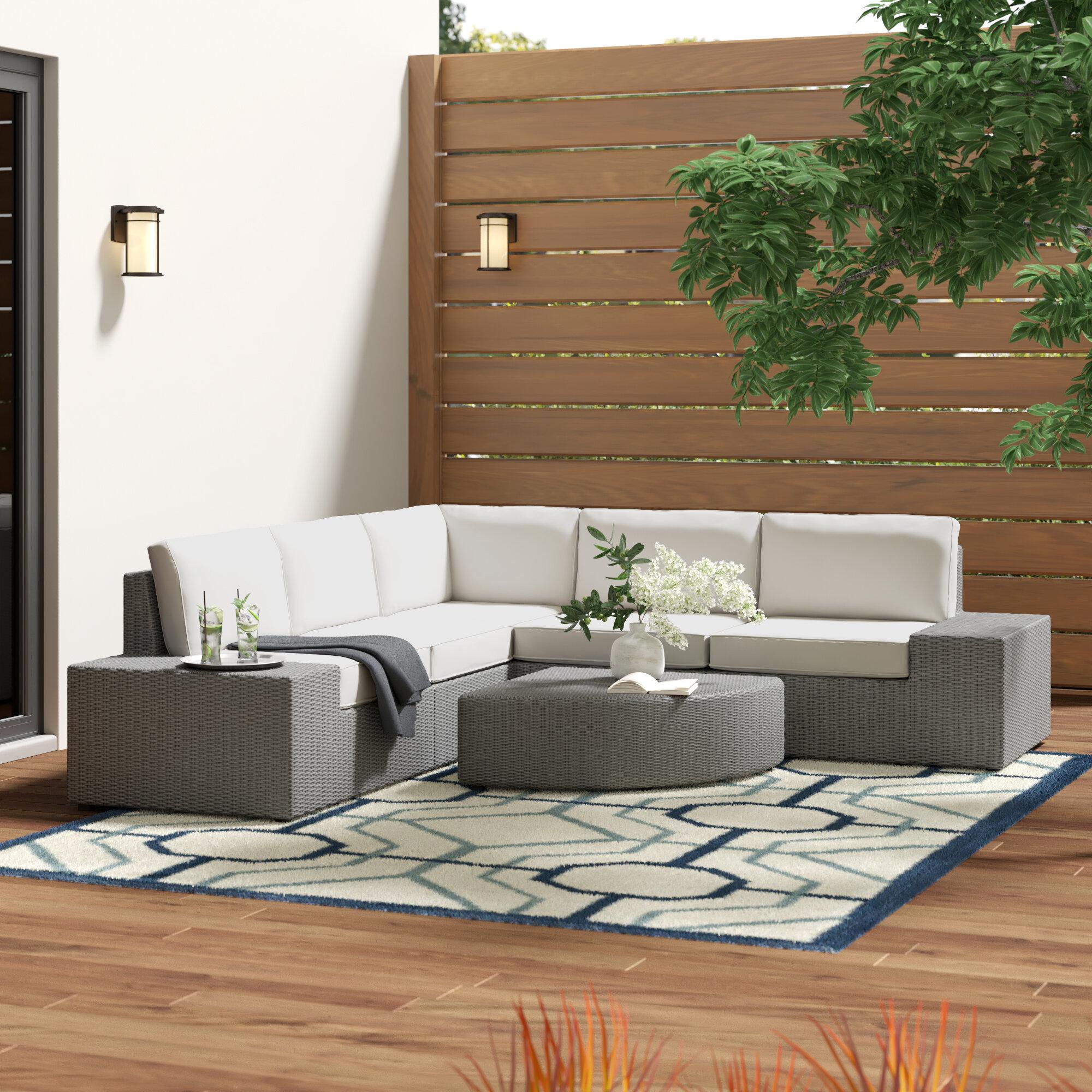 Latitude Run Guston 6 Piece Rattan Sectional Seating Group With Cushions Reviews Wayfair