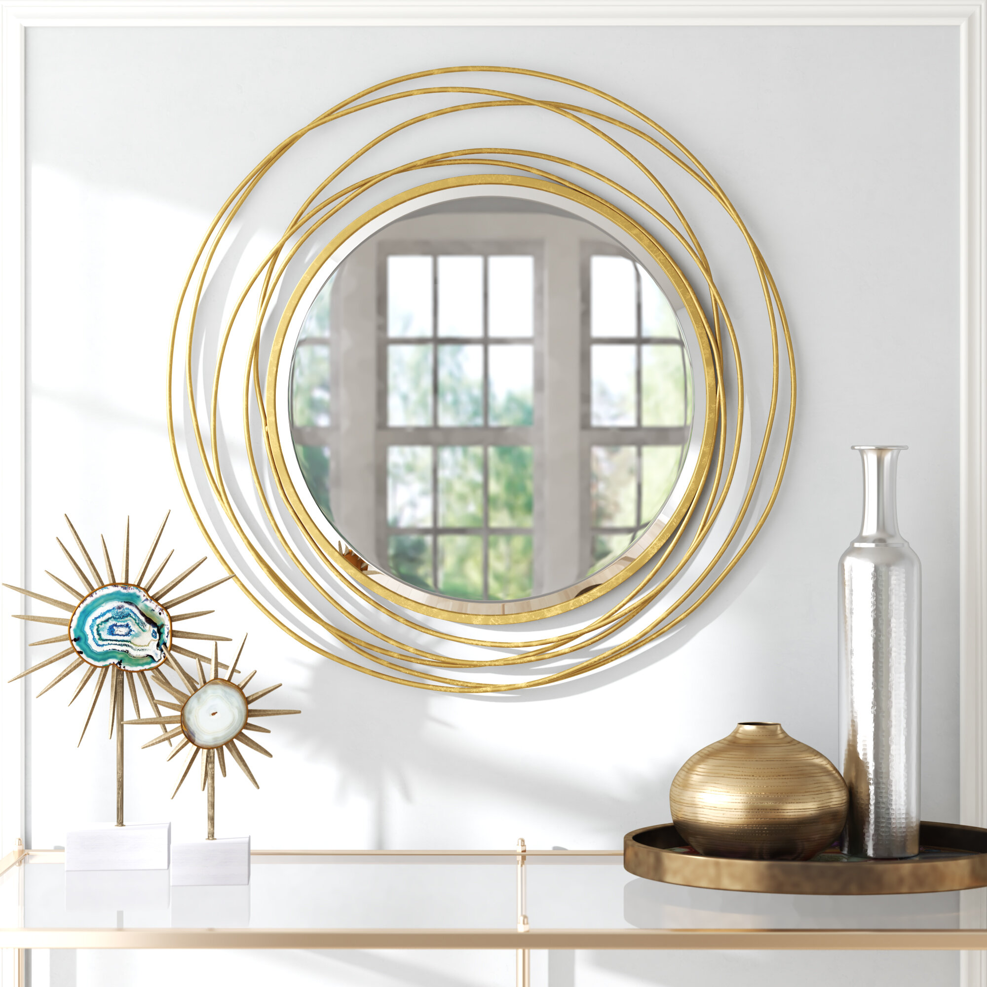 Everly Quinn Whirlwind Round Accent Mirror Reviews Wayfair