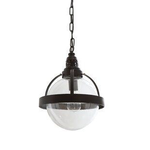 Dietricks Glass/Metal 1-Light Globe Pendant by Breakwater Bay