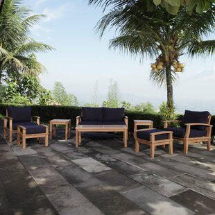 Elaina Outdoor Patio 8 Piece Teak Sofa Seating Group with Cushion