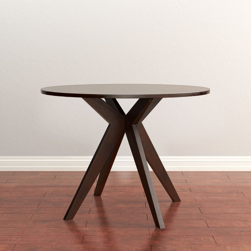 Goza Mid Century Modern Round Counter Height Solid Wood Pub Table