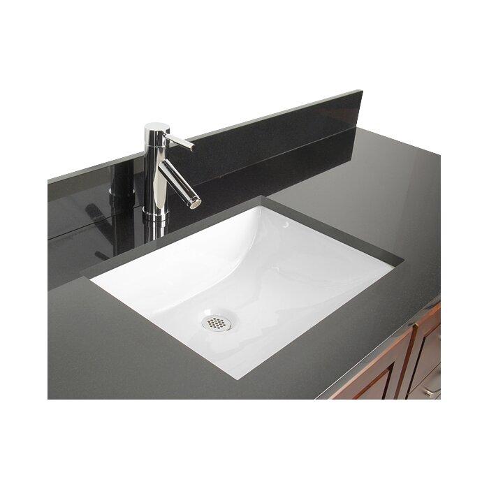 Ceramic Rectangular Undermount Bathroom Sink With Overflow