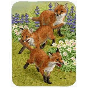 Fox Cubs Glass Cutting Board