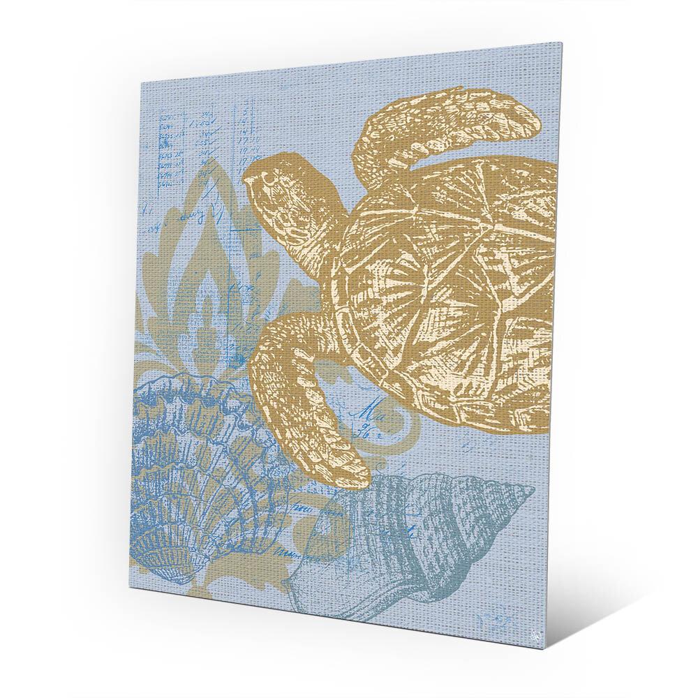 Click Wall Art Damask Sea Turtle Graphic Art In Light Blue Wayfair