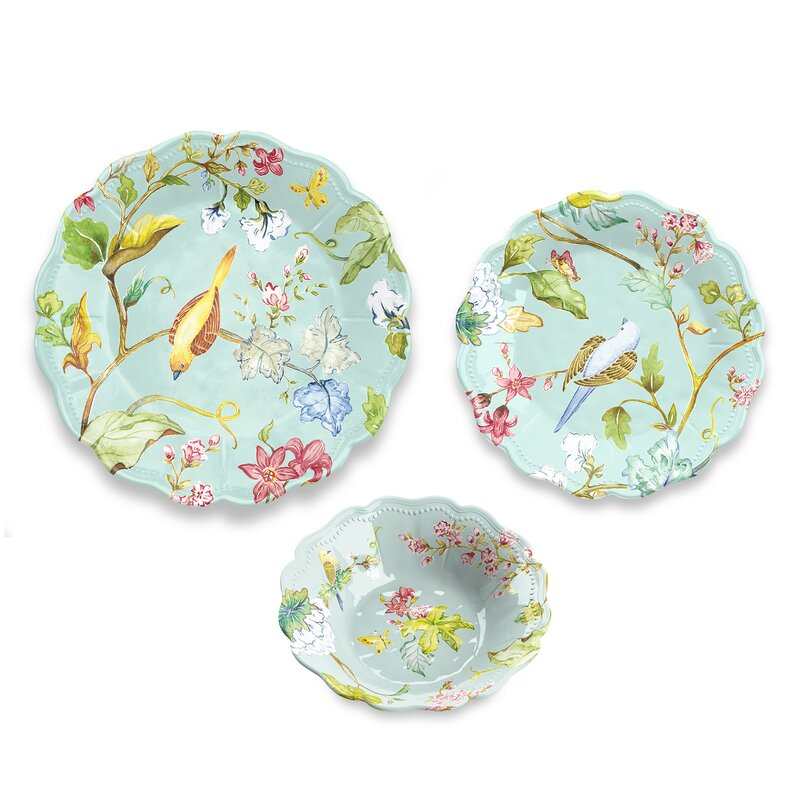 Lecroy Spring Chinoiserie 12 Piece Melamine Dinnerware Set Service for 4  sc 1 st  Wayfair : high quality melamine dinnerware - pezcame.com