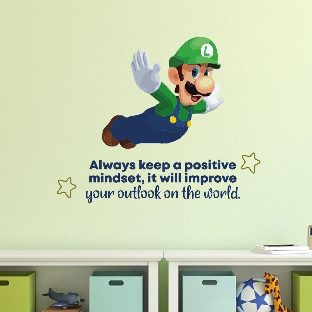 Design With Vinyl Positive Mindset Luigi Mario Cartoon Quotes Wall Decal Wayfair