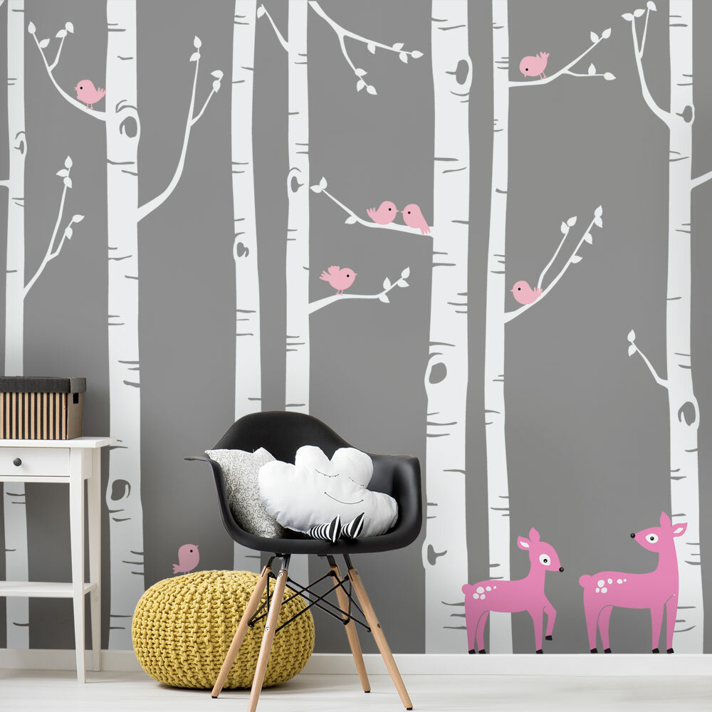 Zoomie Kids Birch Tree With Bird And Deer Wall Decal Reviews Wayfair